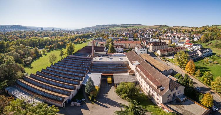 Das Betriebsgelände der Oberbadischen Bettfedernfabrik GmbH