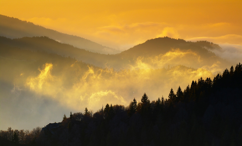 Silhouetten des Schwarzwalds im Herbstlicht beim Belchen © Erich Spiegelhalter/Schwarzwald Tourismus