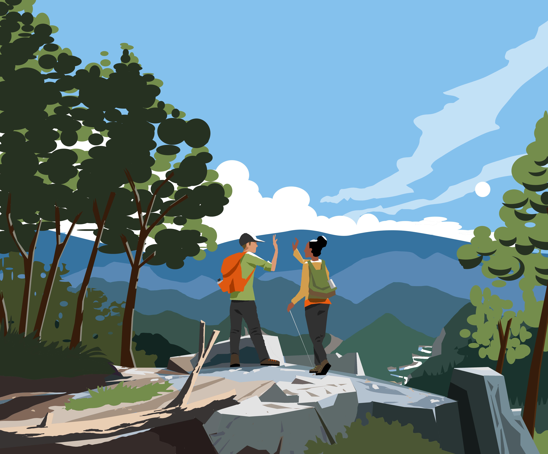 Illustration Wandern Panorama