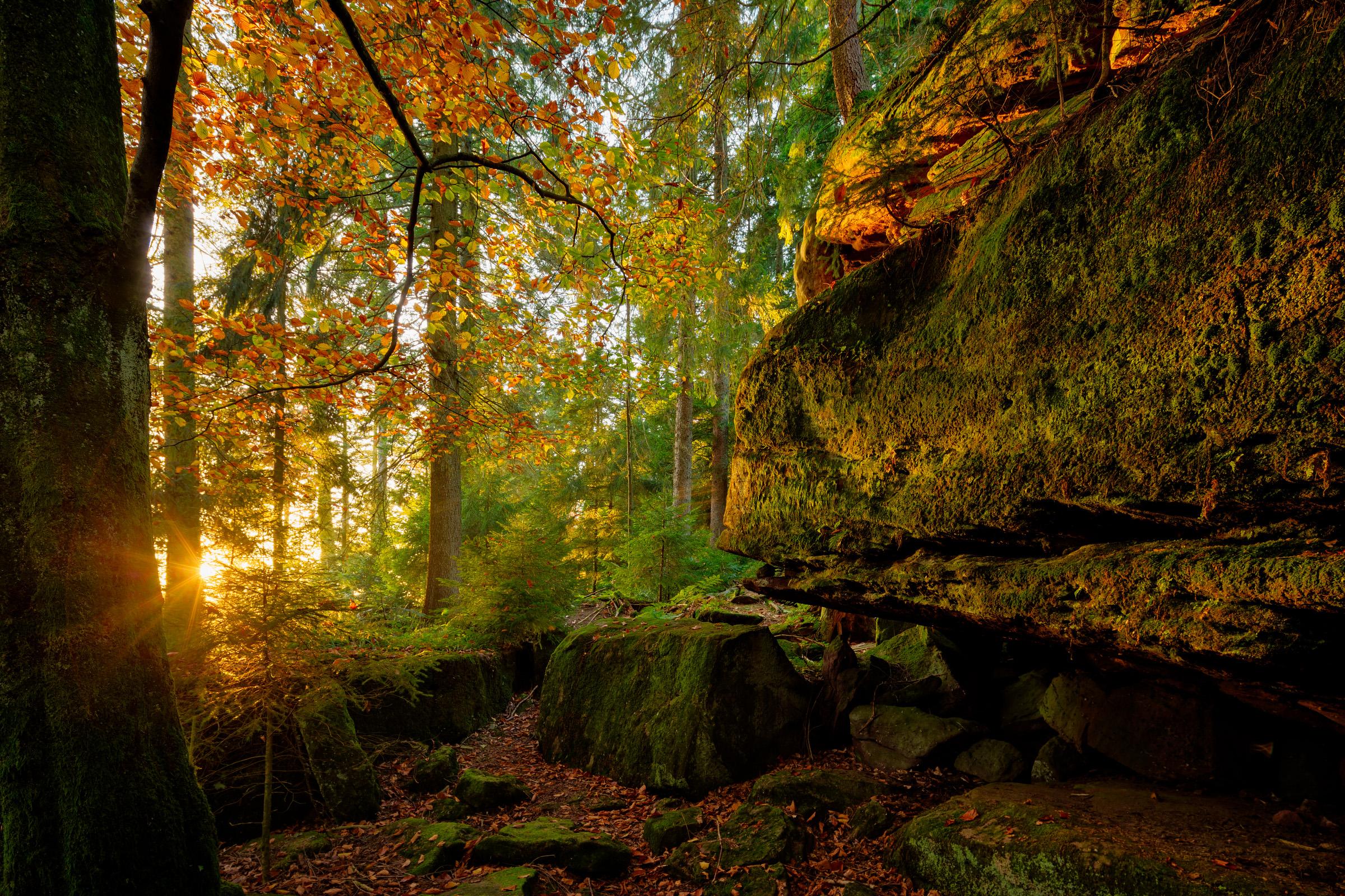 Die mystische Sandstein-Felsenformation Heidenkirche in Oberharmersbach