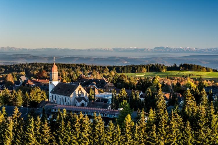 Blick auf Höchenschwand und die Alpenkette