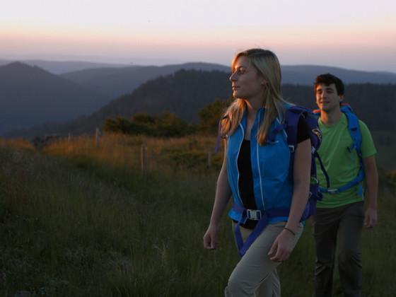 Wandern auf dem Westweg bei Sonnenuntergang © Schwarzwald Tourismus GmbH