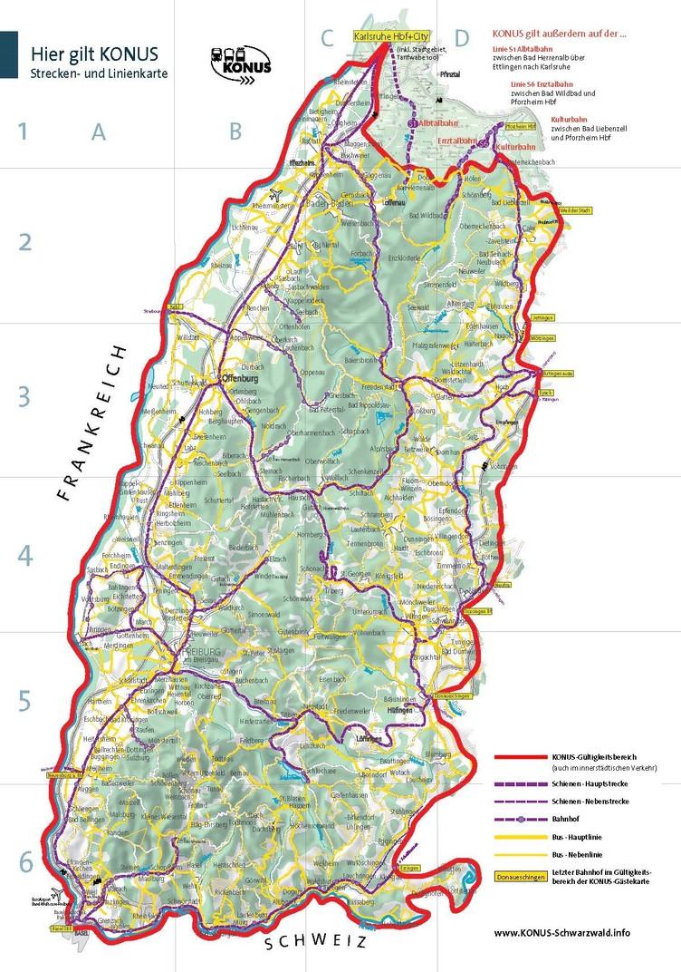 KONUS Strecken und Linienkarte