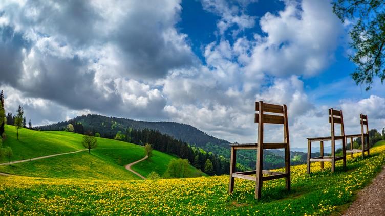 Große Holzstühle oberhalb des Harkhofes